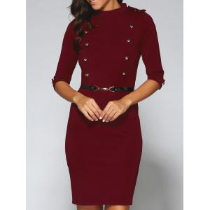 Belted Double-Breasted Work Sheath Dress