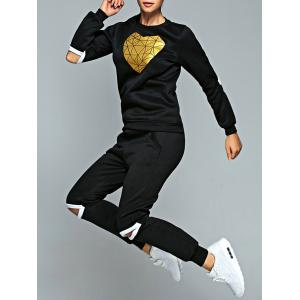 Heart Sweatshirt and Cut Out Jogger Pants - Black - M