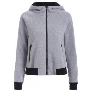 Cotton Zip-Up Color Block Hoodie