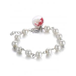 Glass Dry Flower Faux Pearl Charm Bracelet - White