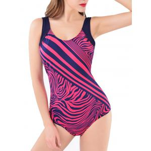 Printed Two-Tone Open Back Swimwear
