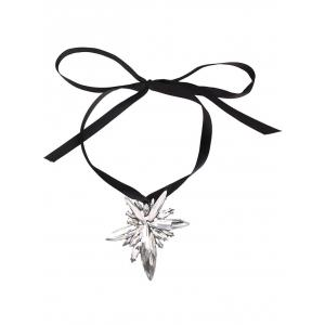 Faux Crystal Rhinestone Bowknot Rope Necklace