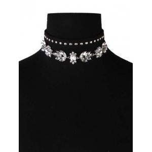 Faux Crystal Leather Velvet Rivets Chokers