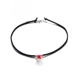 Faux Leather Pearl Dry Flower Necklace - Red