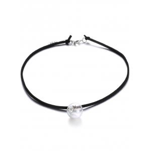 Faux Leather Velvet Dry Dandelion Necklace - Black