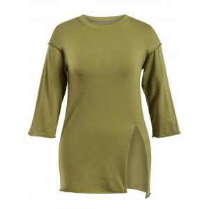 Slit Plus Size Long Sleeve T-Shirt - Army Green - 3xl