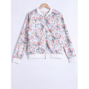 Floral Print Zipper Design Jacket