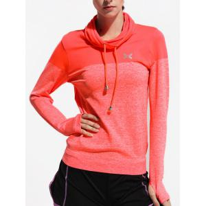 Quick Dry Drawstring Sports Running T-Shirts - Orange Red - S