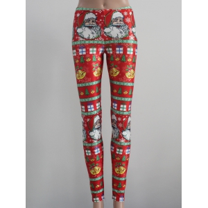 Tight Fit Christmas Leggings - Red - M