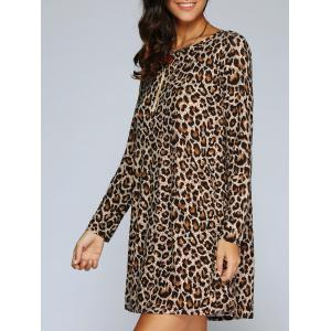 Long Sleeve Leopard Print Shift T-Shirt Dress - Leopard - M