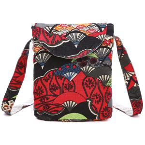 Cotton Floral Print Color Splicing Crossbody Bag - Red - One Size