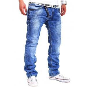 Special Zipper Design Straight Leg Loose Jeans - Light Blue - 36