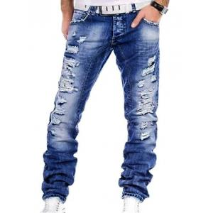 Straight Leg Distressed Denim Jeans