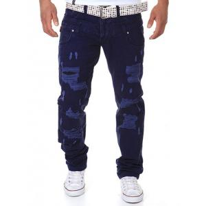 Straight Leg Double-Waist Destroyed Cargo Pants
