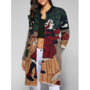 Buttoned Cartoon Pattern Pocket Design Cardigan - Colormix - One Size