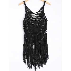 Strappy Fringe Knitted One Piece Swimsuit