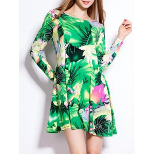 Lotus Leaf Print Long Sleeve Mini Hawaiian Luau Dress - Green - Xl