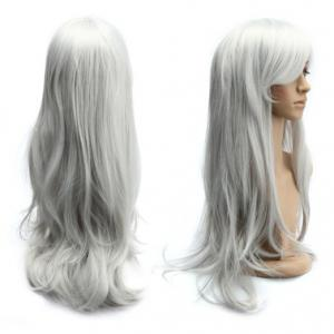 Long Slightly Curled Side Bang Parrucca Piena Cosplay Synthetic Wig - Silver White - 28inch