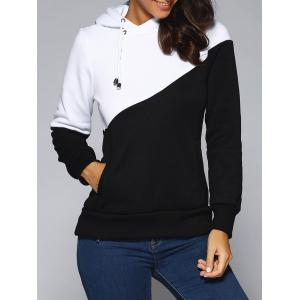 Contrast Color Spliced Pocket Design Hoodie - White And Black - M
