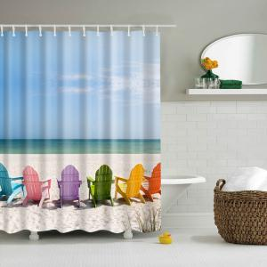 3D Beach Pattern Printed Mouldproof Polyester Shower Curtain - Colormix - L