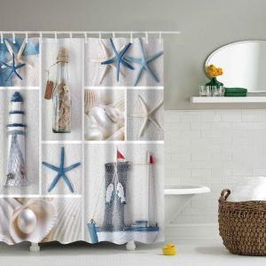 Waterproof Starfish Sea Product Shower Curtain - Colormix - L