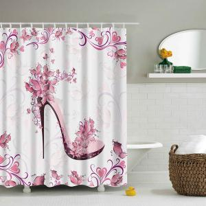 Waterproof Printing Floral High Heeled Shoes Shower Curtain - Pink - S
