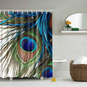Peacock Feather Printing Waterproof Shower Curtain - Colormix - L