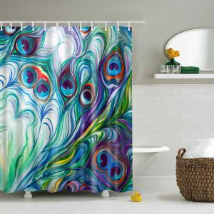 Waterproof Mouldproof Peacock Tail Feather Shower Curtain - Colormix - M