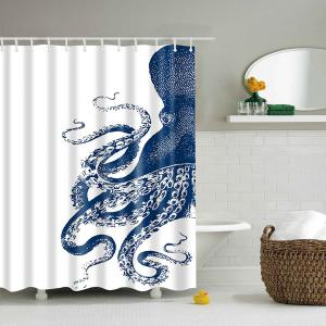 Waterproof Mouldproof Octopus Printed Shower Curtain - Blue And White - S