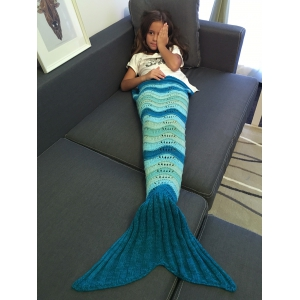 Warmth Wave Stripe and Openwork Design Knitted Mermaid Blanket