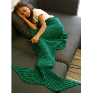 Comfortable Flounced Design Knitted Mermaid Tail Blanket, Green