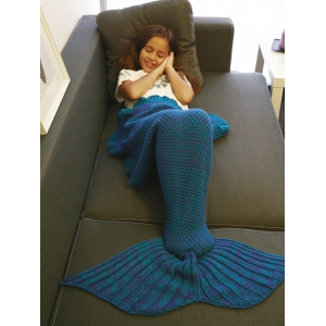 Comfortable Flounced Design Knitted Mermaid Tail Blanket - Blue + Purple - M
