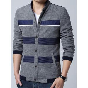 Stand Collar Stripe Splicing Design Knit Blends Cardigan