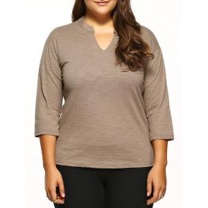 Plus Size V-Neck Tee - Camel - Xl