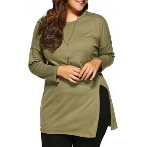 Plus Size Side Slit Long T-Shirt - Army Green - 3xl