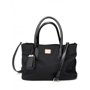 PU Leather Spliced Metal Nylon Tote Bag - Black - 43