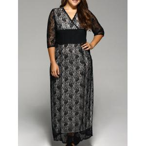 Plus Size Maxi Lace Prom Dress with Sleeves