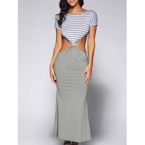 Cut Out Fitted Short Sleeve Striped Maxi Dress - Light Gray - S