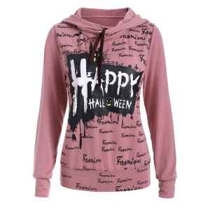 Long Sleeve Letter Print Long Neck Hoodie - Pink - S