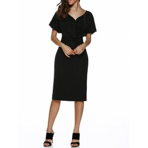 V Neck Knot Knee Length Dress With Short Sleeves