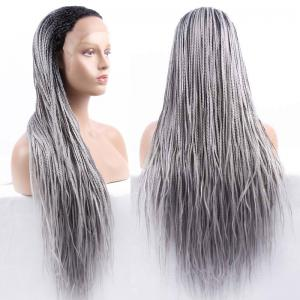 Long Braided Synthetic Double Color Lace Front Wig - Black And Grey - M