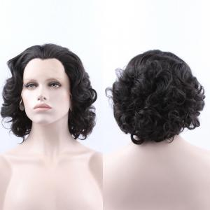Endearing Short Curly Lace Front Synthetic Wig - Black - 14inch