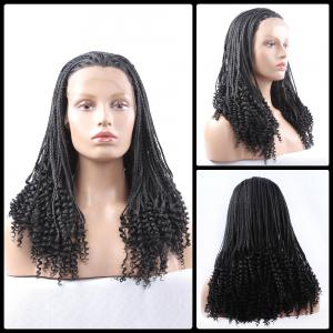 Gorgeous Long Braided With Curly Synthetic Lace Front Wig - Black