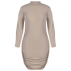 Plus Size Long Sleeve Knit Ruched Dress