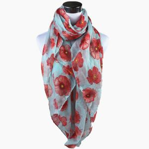 Poppy Flower Print Voile Scarf - Light Green - 3xl
