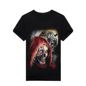 3D Night Skull Print Halloween T-Shirt