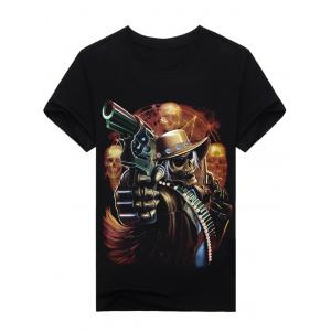 3D Skull Gunner Print Round Neck Short Sleeve T-Shirt - Black - L