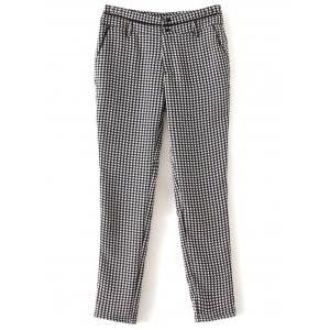 Houndstooth Patterned Tapered Pants