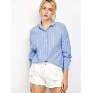 Oversized Embroidered Striped Chambray Work Shirt