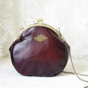 Metal Vintage Kiss Lock Closure Crossbody Bag